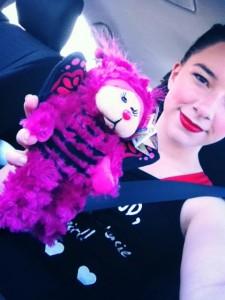 "Sabrina and her Good Luck beanie bear called ""fizzie"""