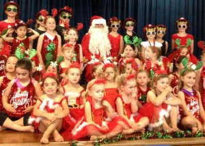 Physie girls with Santa